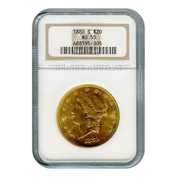 Certified US Gold $20 Liberty 1880-S AU55 NGC