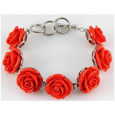 34.42g Pinky Rose Sea Coral Sterling Silver Bracelet
