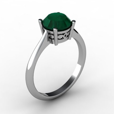 Emerald 1.70 ctw Ring 14kt White Gold