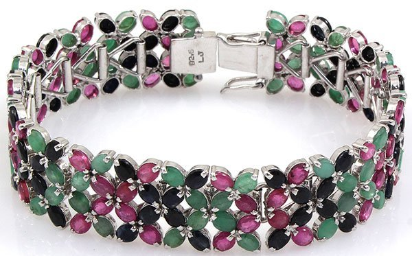 Ruby, Emerald & Sapphire Sterling Silver 92.5 36 Grams