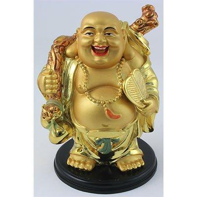 Happy Chinese Buddha Made of Golden Brass