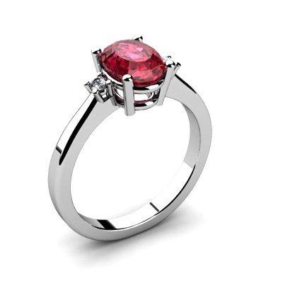 Garnet 1.40 ctw Diamond Ring 14kt White Gold