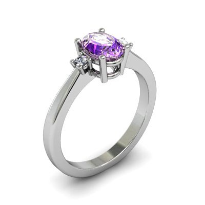 Amethyst 0.85 ctw Diamond Ring 14kt White Gold
