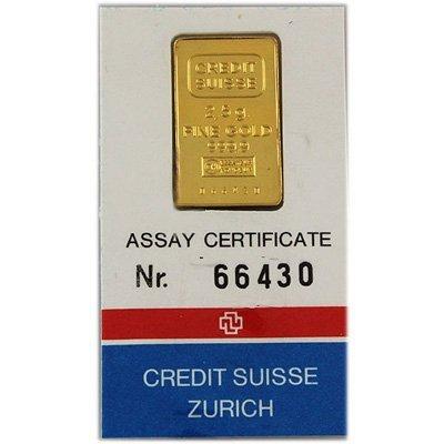 Fine Gold 2.5 g Assay Cert. No. 66430 Credit Suisse