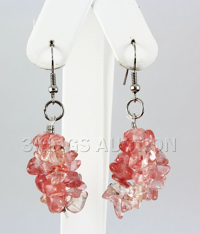 43.70CTW 2in. PINK ROSE CHIPPED STONE HOOK EARRING