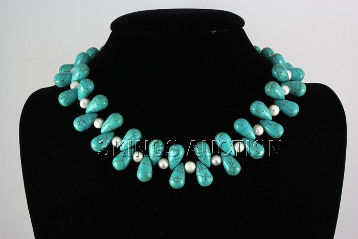 "556.79CTW 16"" BLUEGREEN FRESHWATER PEARL WITH TURQUISE"