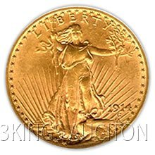 $20 Saint Gaudens Almost Uncirculated Early Gold Bullio