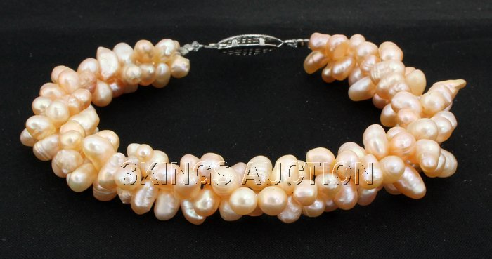 "148.3CTW 7"" PEACH RICE PEARL BRACELET METAL LOCK"