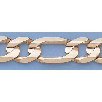 """Pure Gold 16"""" 14k Gold-Yellow 10.8mm Figaro Chain"""