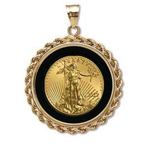 2012 1/2 oz Gold Eagle Pendant (Onyx Rope Bezel) 14KT