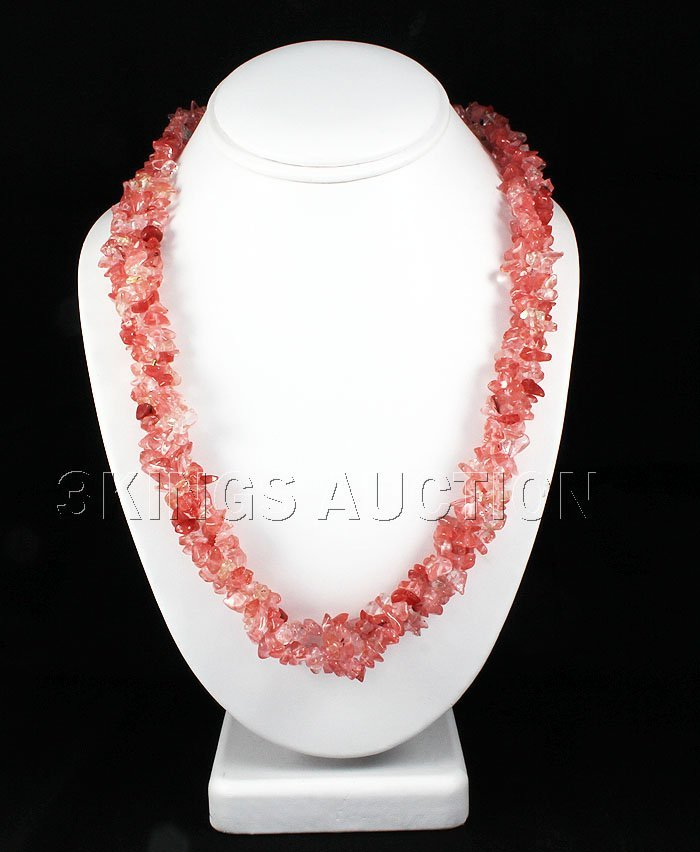 480.10CTW 22in. PINKROSE CHIPPED STONE NECKLACE METAL L
