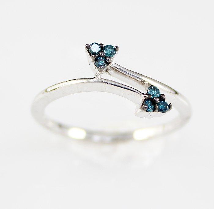 DeBeer' 10K Gold .22 Fancy Blue Diamond Ring
