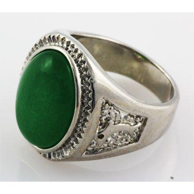 Men's Large Oval Jade Set in Metal w/ Design