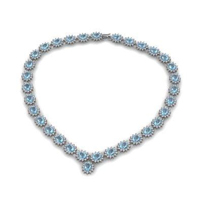 Aqua Marine 43.95 ctw Diamond Necklace 14kt White Gold