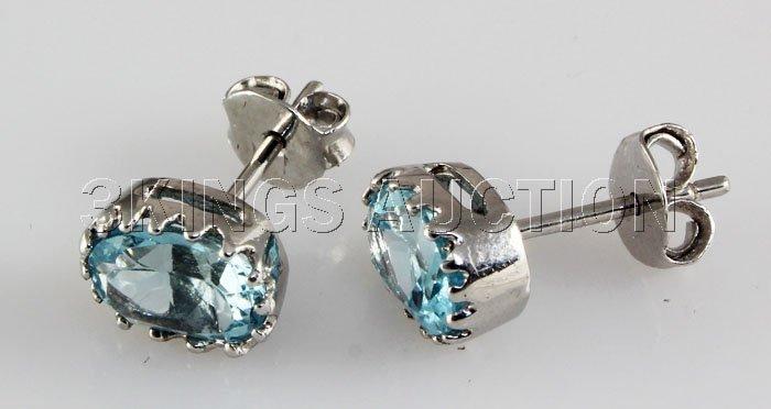 Simple 9.41CTW Stud Blue Zircon Silver Earring