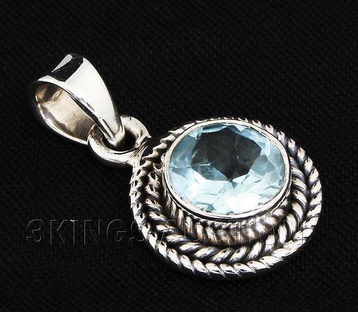 1.55CT Round Blue Topaz Antique Desing .925 Pendant 1.8