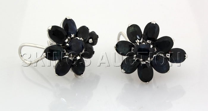 Natural Sapphire 43.06CTW Silver Flower Earring