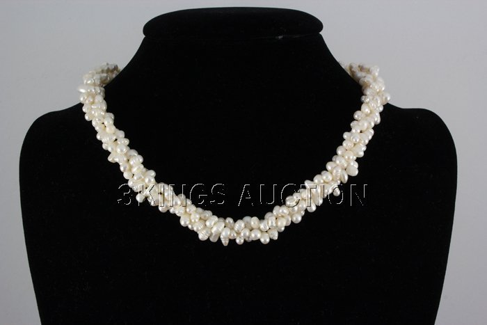 "320.4CTW 16"" WHITE RICE PEARL NECKLACE METAL LOCK PHILI"