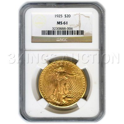 Certified $20 St Gaudens MS61 (Dates Our Choice)
