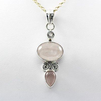 Rose Quartz Oval Pear Silver Pendant White Topaz