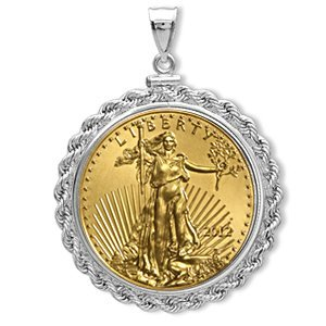 12 1 oz Gold Eagle White Gold Pendant (Rope-ScrewTop Be