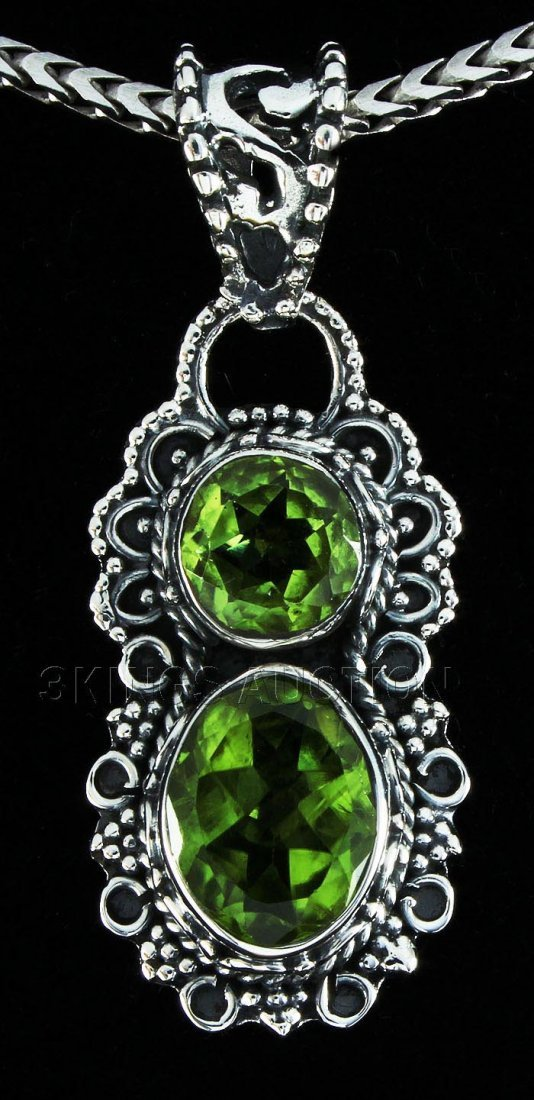 Natural Peridot 18.25ctw Antique Design .925 Pendant