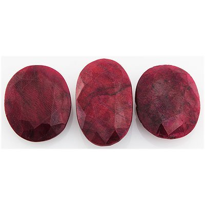 164.20ctw Ruby Oval Cut Loose Gemstone lot of 3