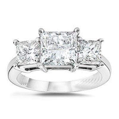 2.50 ctw Princess cut Three Stone Diamond Ring, G-H,SI2