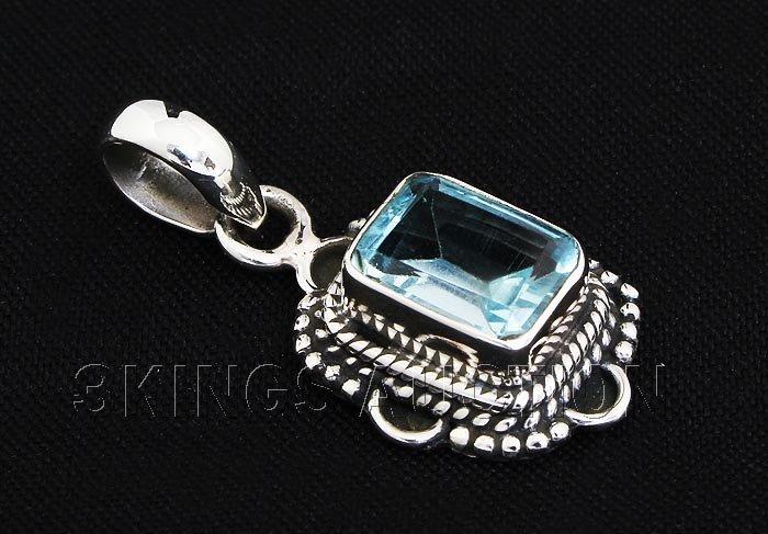 3.40CT Emerald Blue Topaz Antique Design .925 Pendant 2