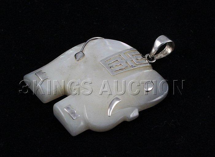 Genuine 24.31ctw Elephant White Jade Pendant