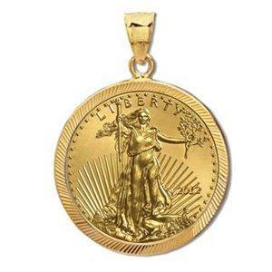 2012 1 oz Gold Eagle Pendant (Diamond-Prong Bezel) 14KT