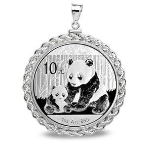 2012 1 oz Silver Panda Pendant (Rope-ScrewTop Bezel) 14