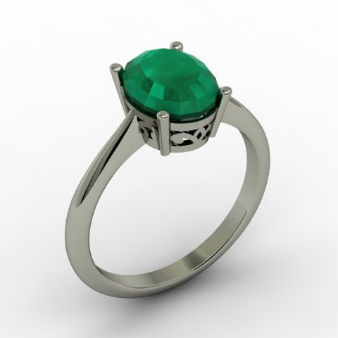 Emerald 1.90 ctw Ring 14kt White Gold