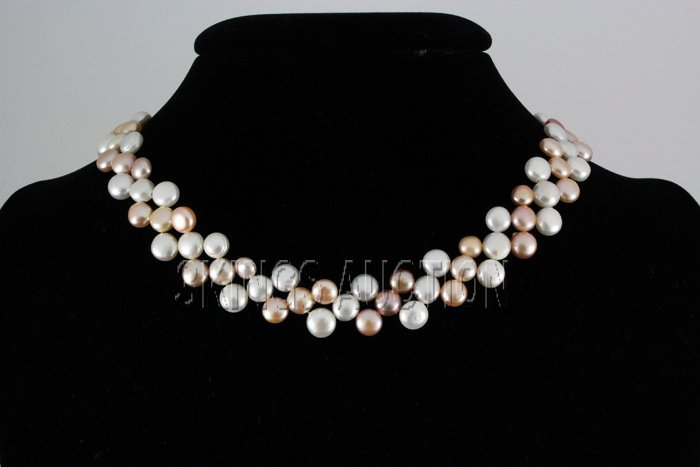 "214.32CTW 12"" WHITE-PEACH-LAVENDER SIOPAO NECKLACE META"