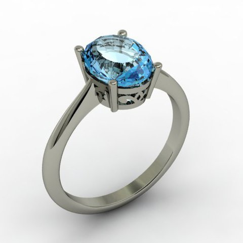Aqua Marine 1.75 ctw Ring 14kt White Gold