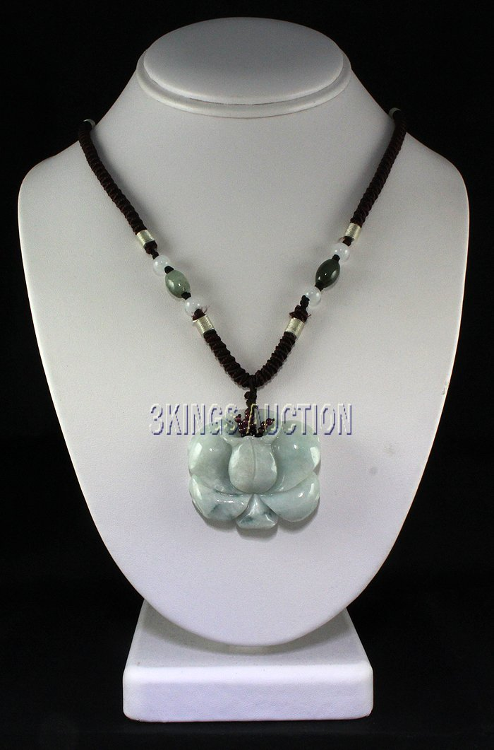 Natural 177.40ctw Lotus Flower Jade Pendant Necklace