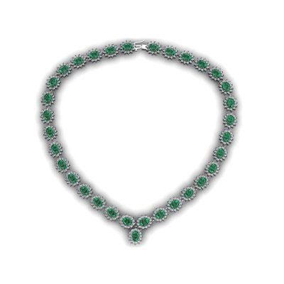 Emerald 49.23 ctw Diamond Necklace 14kt White Gold