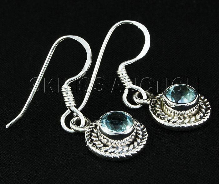 1.12CT Round Blue Topaz Antique Design .925 Earring 2.8