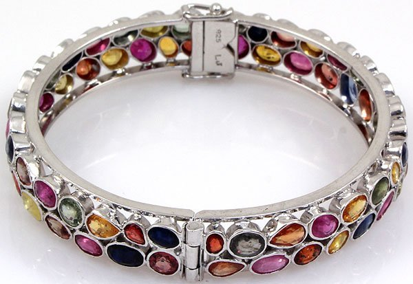 Semi-Precious Bangle Bracelet Rainbow 92.5 Sterling Sil