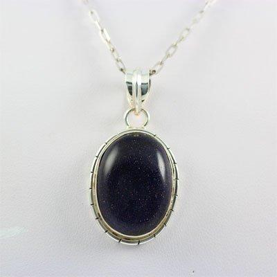 Sterling Silver Pendant Blue Golden Sandstone Gems