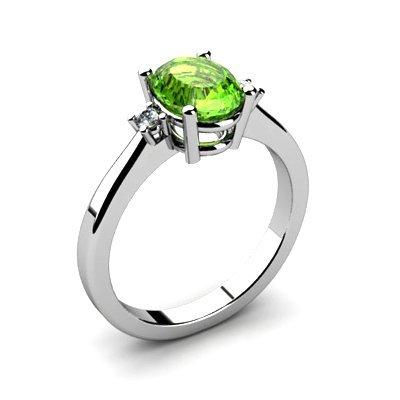 Peridot 1.35 ctw Diamond Ring 14kt White Gold
