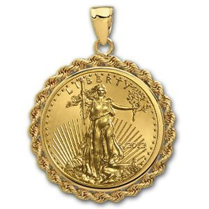 2012 1/2 oz Gold Eagle Pendant (Rope-Prong Bezel)14kt