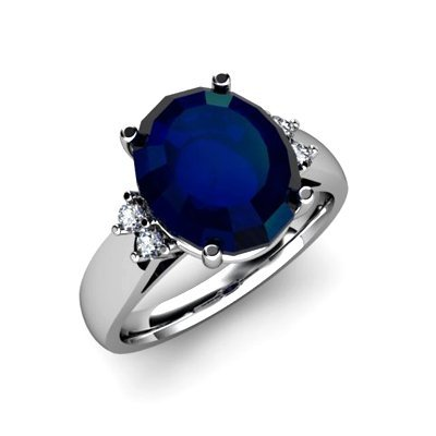 Sapphire 6.00ctw& Diamond Ring 14kt White Gold