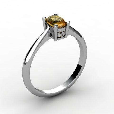 Citrine 0.45 ctw Ring 14kt White Gold