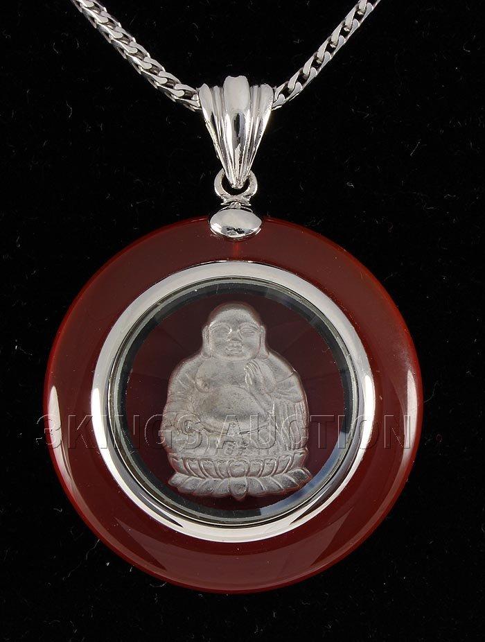SILVER CARNELIAN 60.24CTW SPINNING BUDDHA PENDANT