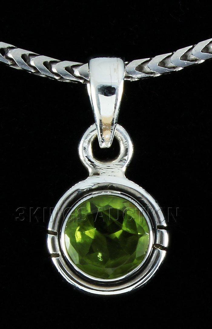 Natural Peridot 6.45ctw Bezel Design 0.925 Pendant