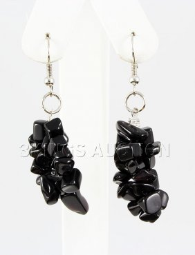 50.66CTW 2in. BLACK QUARTZ CHIPPED STONE HOOK EARRING