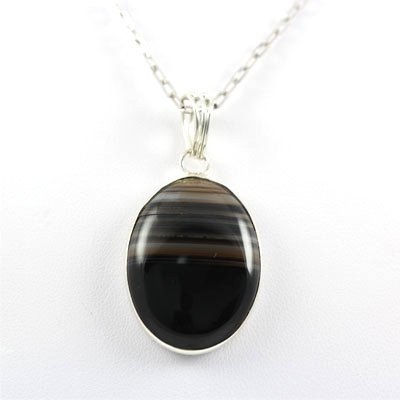 42.ctw Stripped Onyx Silver Pendant