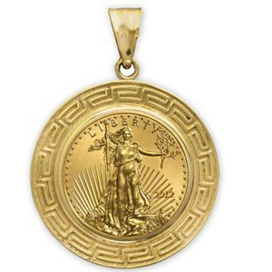 2012 1/4 oz Gold Eagle Pendant (Greek Key-Prong Bezel)