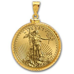 2012 1/4 oz Gold Eagle Pendant (Diamond-ScrewTop Bezel)